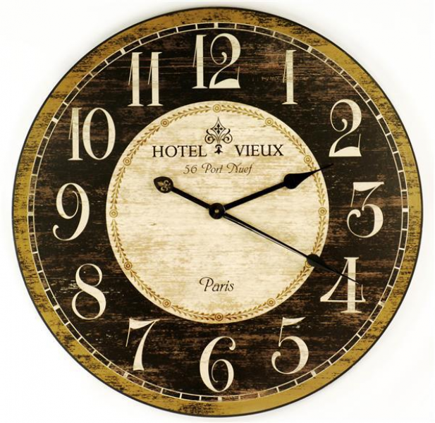 59CM French Country Hotel Vieux Wall Clock with Fleur-de-Lis
