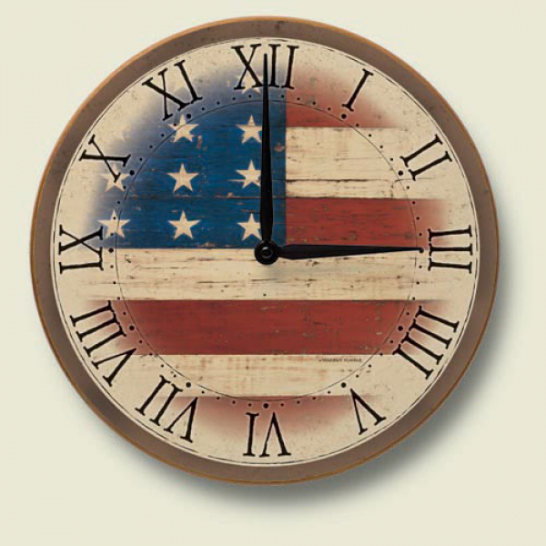 Details about Western Decor Americana Wood Wall Clock