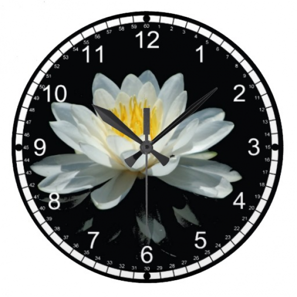 Lotus Flower (Water Lily) Round Wall Clock | Zazzle