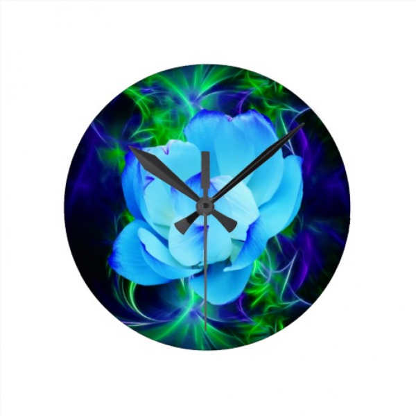 Blue lotus flower and its meaning round wall clock | Zazzle