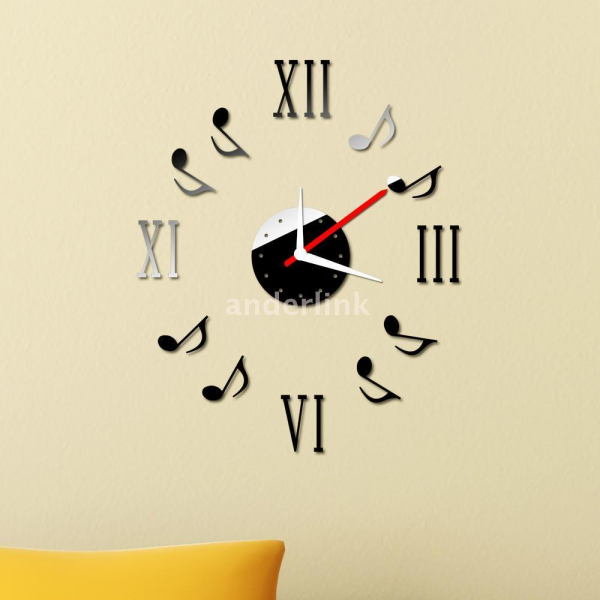 DIY Music Notes Wall Clock Home Decoration Acrylic Mirror Sticker ...