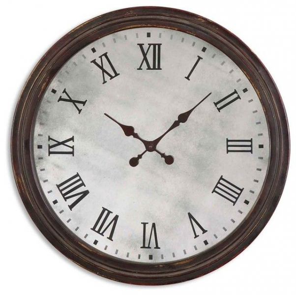 Round Wooden Roman Numeral Wall Clock | Ticking Away | Pinterest