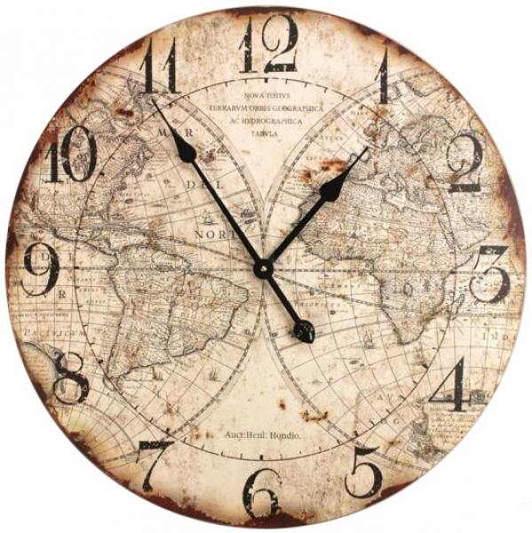 Old World Map Wall Clock