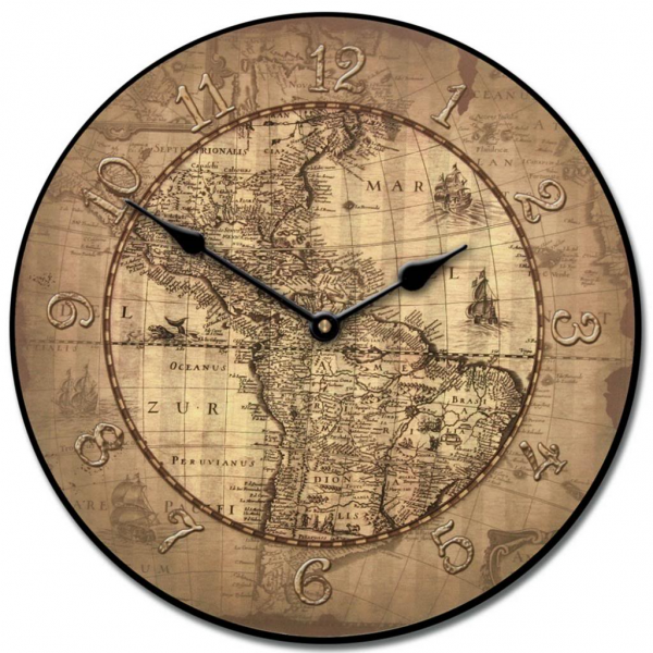 16th Century Parchment World Map Clock