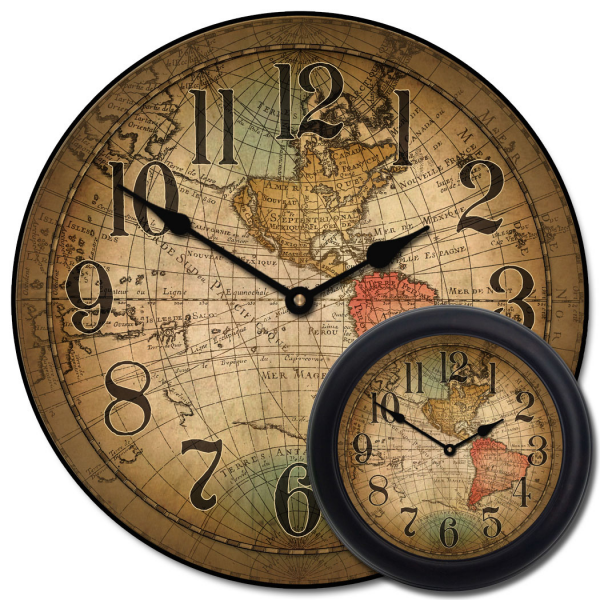 ... / Shop / Category / Vintage Wall Clocks / Vincenzo World Map Clock
