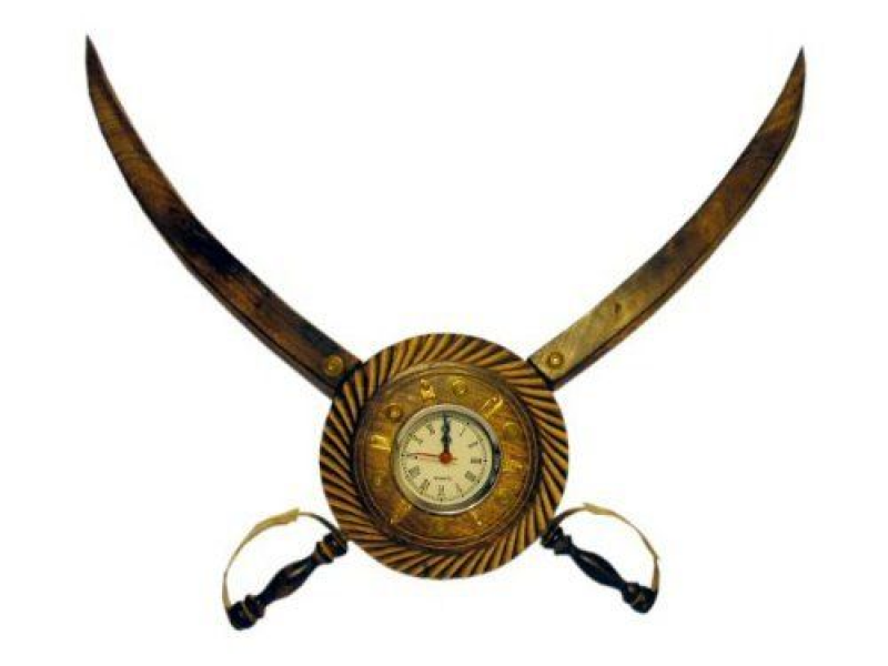 JBJ Wooden Pirate Sword Wall Clock with Brass and Cutter Work by JBJ ...