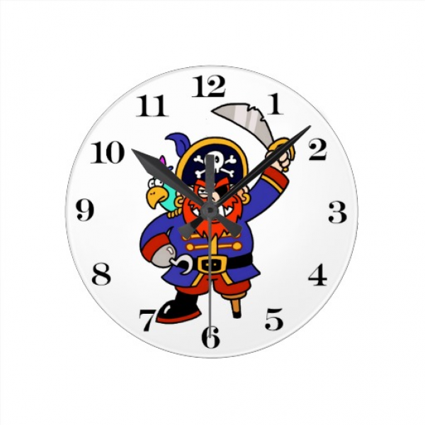 Cartoon Pirate With Peg Leg And Sword Wall Clocks | Zazzle