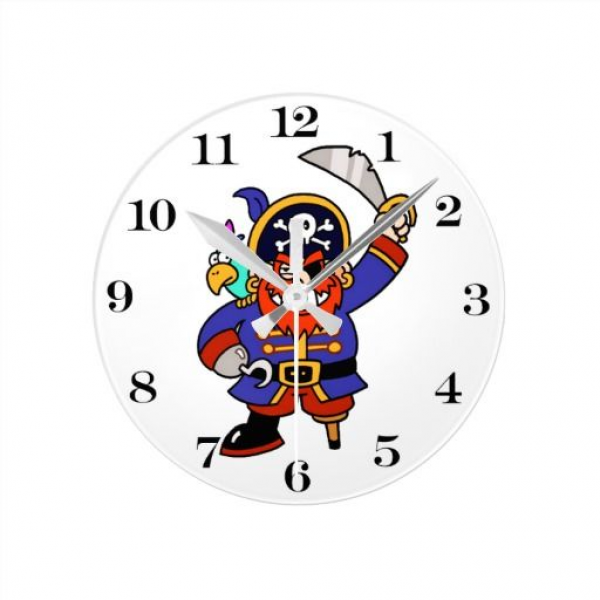 Cartoon Pirate With Peg Leg And Sword Wall Clocks #pirate # ...