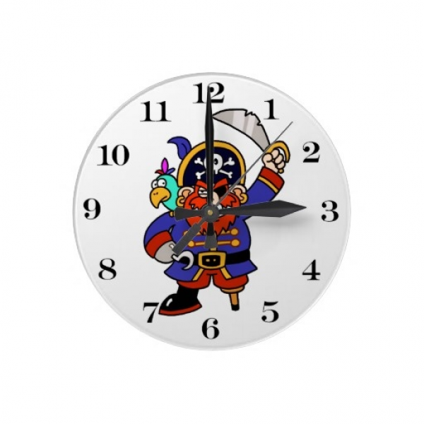 Cartoon Pirate With Peg Leg And Sword Wall Clocks by gravityx9 ...