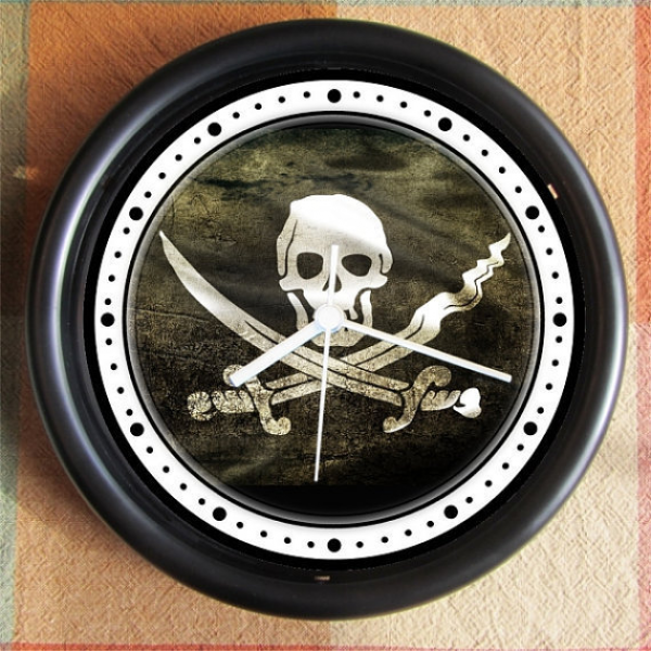 PIRATE SKULL crossed swords Flag 10 inch from Backstreetcrafts on