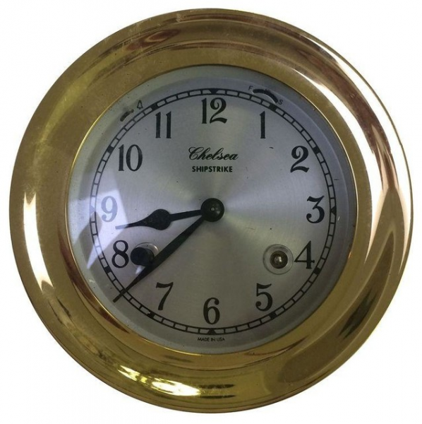 Pre-owned Brass Ship Clock - Beach Style - Wall Clocks - by Chairish