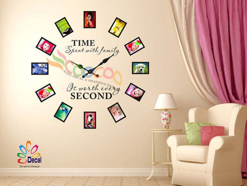 Wall Decal Sticker Tree Removable Family Photo Frames Clock With Quote ...