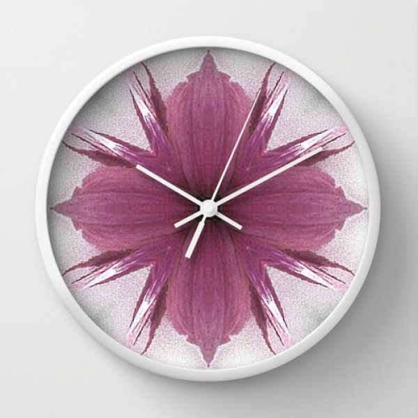 Decorative Wall Clock Pink Windflower 4 Flowers Original Fine Art Home ...