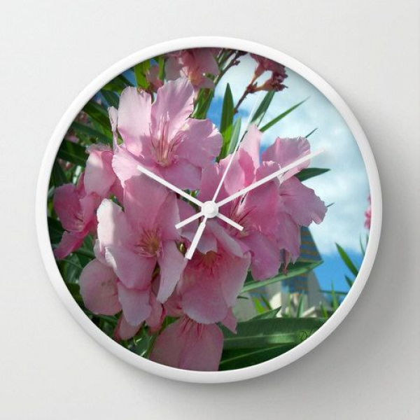 Decorative Wall Clock Pink Flowers 1 Original Fine Art Home Decor in ...