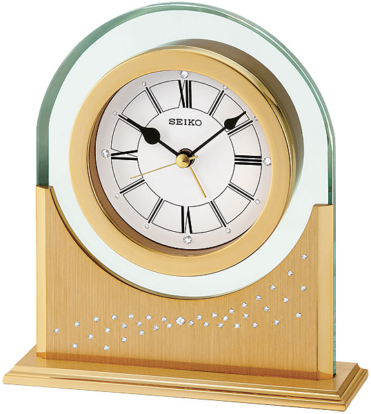 ... SEIKO Desk and Table QHE047GLH Gold-tone Crystal Alarm Clock 531222295