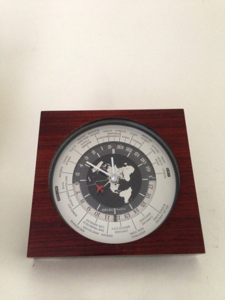 Vintage rosewood Seiko world time GMT desk clock by scoxx30