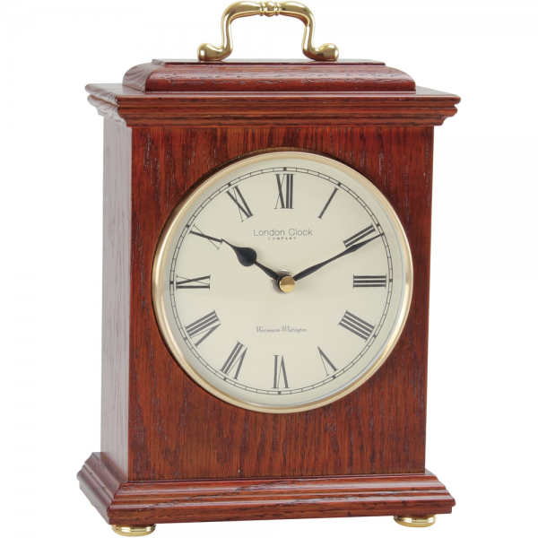 Dark Wood Mantel Clock 25cm