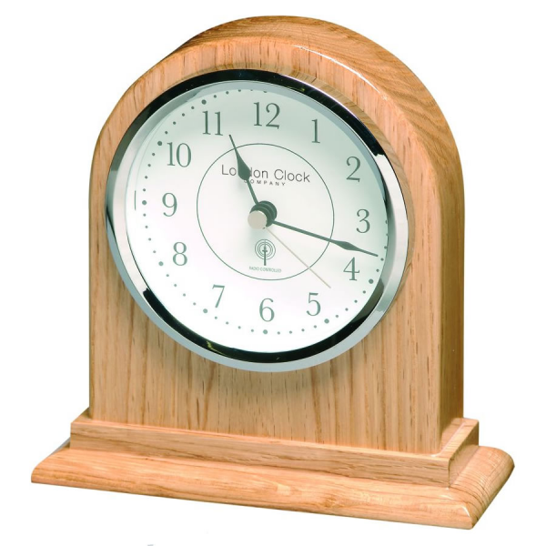 ... Mantel Clocks - Radio Controlled Arch Top Light Wood Mantel Clock