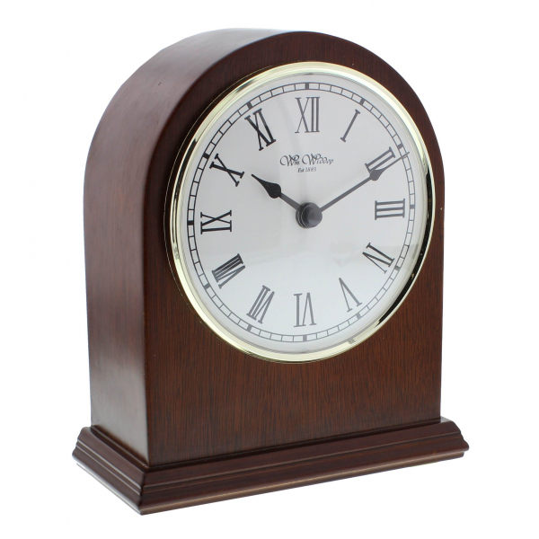 Wm Widdop Polished Arched Wooden Mantel Clock