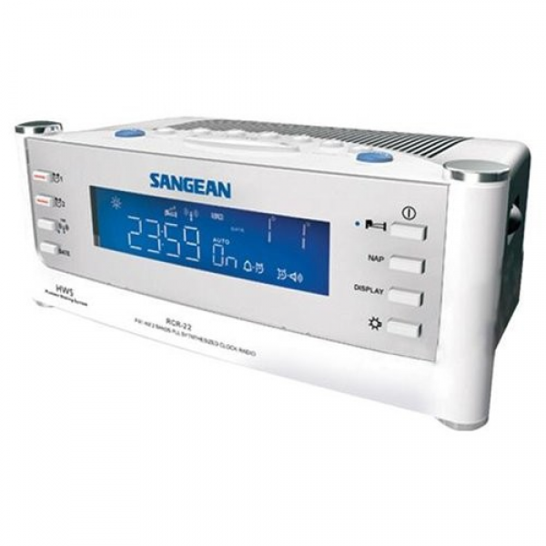 Sangean America RCR-22 Atomic Clock Radio Dual Alarm LCD Display White ...