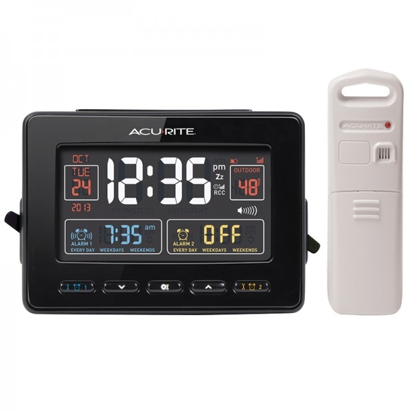 Acu-Rite Atomic Clock with Dual Alarm, USB Charger & Temperature 13022