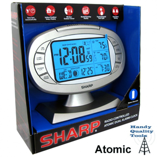 SHARP ATOMIC DUAL ALARM CLOCK SPC315 TOUCH ACTIVATED FREE SHIPPING