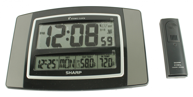 Details about SHARP Digital Atomic Wall Clock w/ Wireless Indoor ...