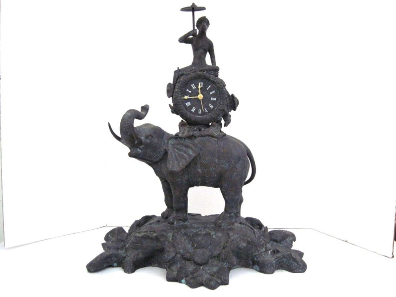 Maitland Smith Cast Bronze Monkey Clock Ridding An Elephant Sculpture ...