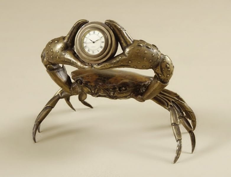Maitland-Smith 1358-051 Cast Brass Crab Holding Clock Antique Brass ...