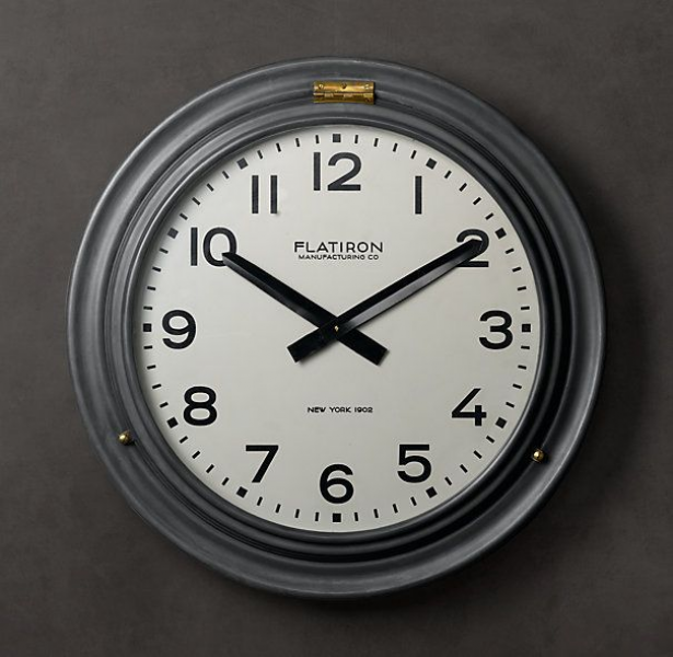 ... 20th C. industrial Flatiron Hinged Clock from Restoration Hardware