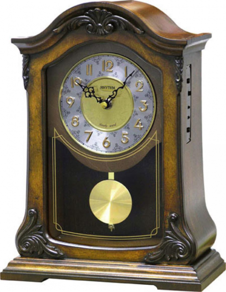 Clockway: Rhythm Musical Mantel Clock Quartz Wooden Case - GTM2514