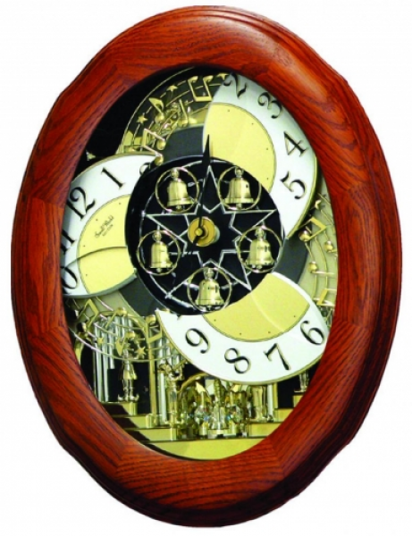 ... Oak Musical Wall Clock Including Holiday Melodies - Wooden Case
