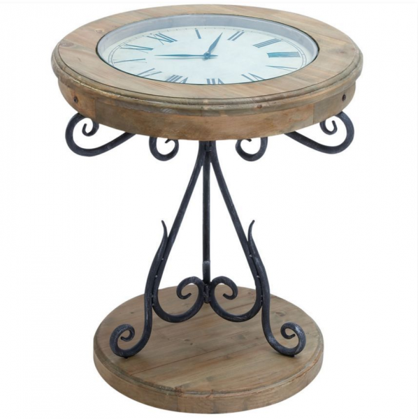 Clock End Table Modern Contemporary Side Table Working Clock Unusual ...