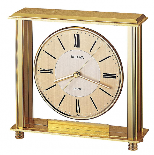 Bulova Tabletop Clock, Floating Dial, Polished Brass Finish – Grand ...