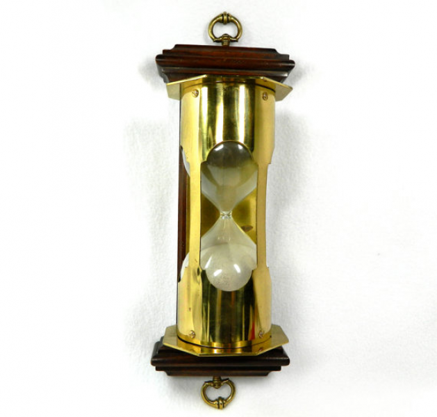 UNIQUE wall mounted hour glass wood and brass with glass and sand ...