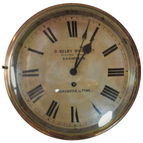 Selby Bigge and Co. Brass Wall Clock SATURDAY SALE at 1stdibs