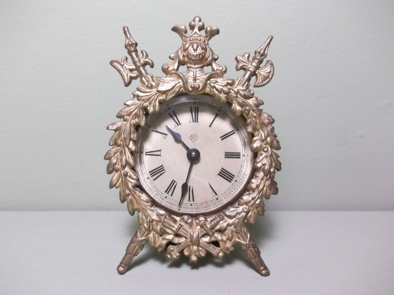 Unusual Small Antique Ansonia Clock Company Brass Clock with Beveled ...