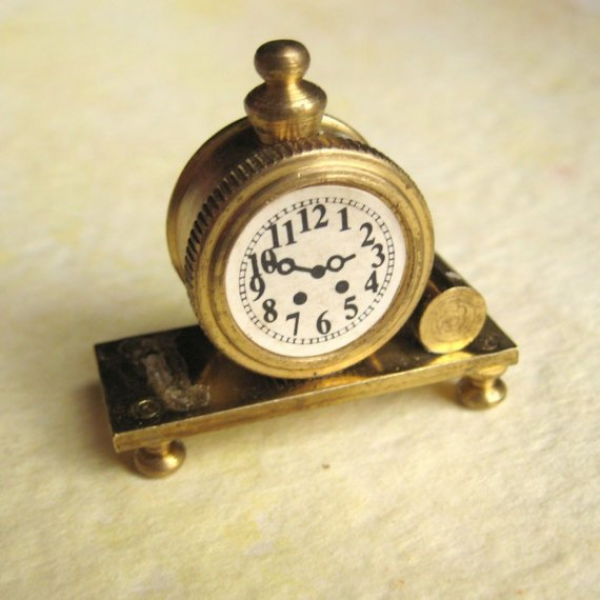 Miniature Mantel Clock Solid Brass from Holland by rakubuttons