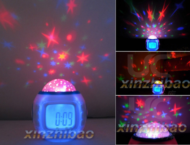 Romantic Sky Star Night Light Projector Lamp Bedroom Alarm Clock ...