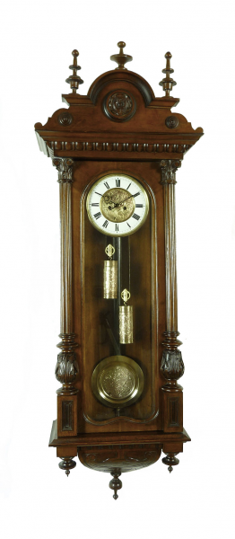 ... about Beautiful Antique German Junghans 2 weight wall clock at 1900