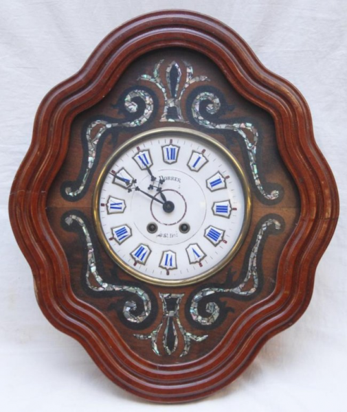 ANTIQUE FRENCH INLAID WALL CLOCK : Lot 96