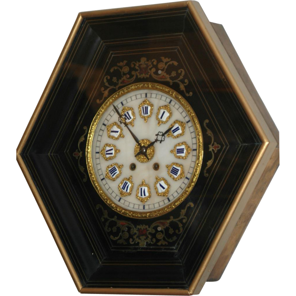 Antique French, Marti & cie Boulle Inlaid Picture Frame Wall Clock ...