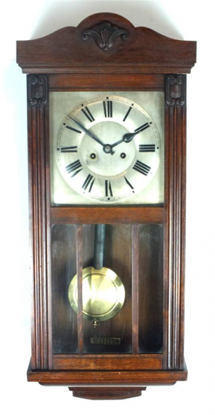 Antique-Mahogany-Striking-Wall-Clock-Kitchen-Vienna-Regulator-8-Day ...