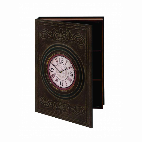 Benzara Wood Wall Box Clock with Clean Lines and Elegant Pattern ...