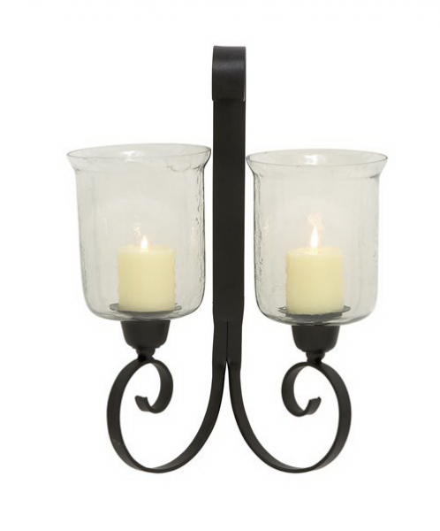 benzara 23873 elegant styled metal glass wall sconce by benzara see ...