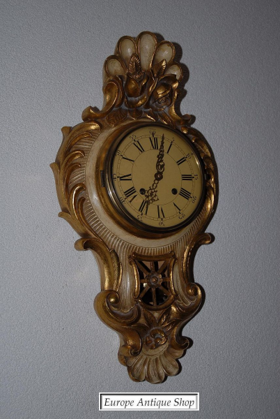 Carved Gilt Wooden Cartel Wall Clock from europeantiqueshop on Ruby ...