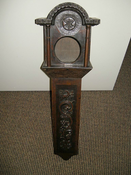 Rare Antique Folk Art Carved Wood Watch Hutch Wall Clock Barometer ...