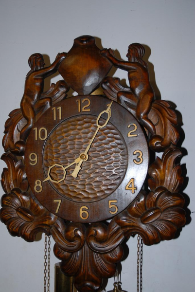 An Old Fine Carved Wood Figural / Nude Wall Clock, from circa 1920 ...