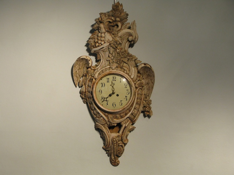 Late 18th Cent Swedish Carved Wood Wall Clock - Decorative Items