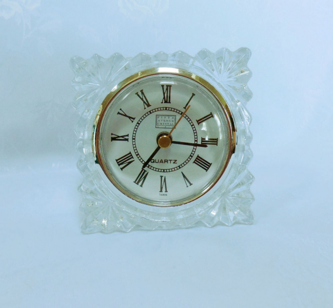 Cut Lead Crystal Clock Shelf Desk Vanity Quartz Movement Fifth Ave ...